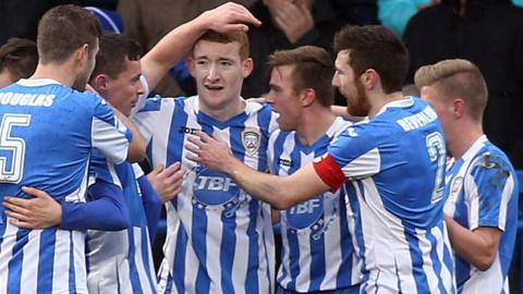 Coleraine celebrate Rodney Brown's 19th-minute goal which gave them a 1-0 home win over Ballinamallard United