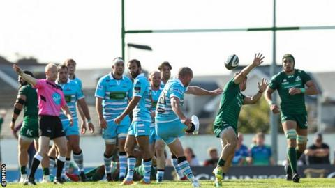 Stuart Hogg thumps over the winning drop-goal for Glasgow Warriors in Galway