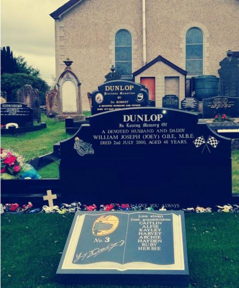 The graves of Robert and Joey Dunlop