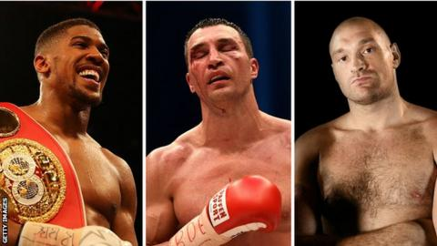 Anthony Joshua, Wladimir Klitschko and Tyson Fury