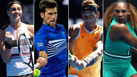Petra Kvitova, Novak Djokovic, Rafa Nadal and Serena Williams