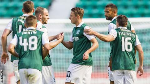 Scott Allan (centre) scored for Hibs last weekend