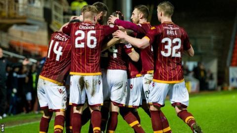 Motherwell players celebrate