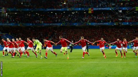 Wales celebrate their Euro 2016 victory against Belgium.