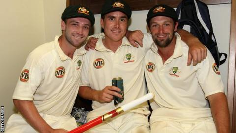 Phillip Hughes (left) with his Australia team-mates Marcus North and Ben Hilfenhaus