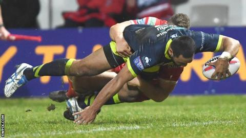 Wakefield's Bill Tupou goes over for his side's second try at Hull KR
