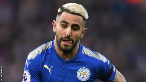 Riyad Mahrez playing for Leicester