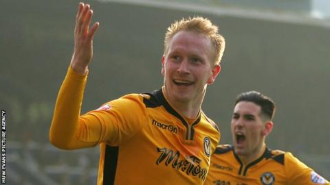 Scott Boden celebrates a goal for Newport County