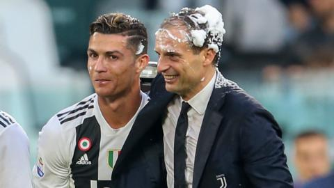 Cristiano Ronaldo (left) and Juventus manager Massimiliano Allegri