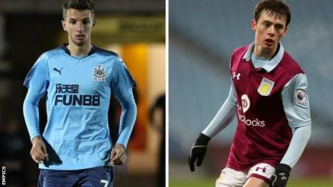 Newcastle United's Dan Balaser (left) and Aston Villa's Harry McKirdy