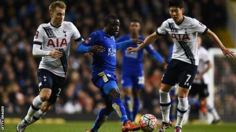 N'Golo Kante is tackled by Christian Eriksen and Son Heung-min