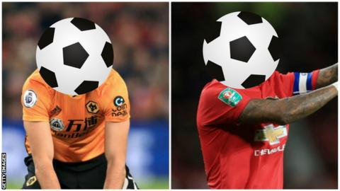 A Wolves and Manchester United player with their faces covered by a football