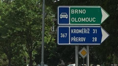 The roundabout at the top of Kvitova's road shows the way to Brno - where Kvitova should have been on her way to with Cernosek when the attack happened