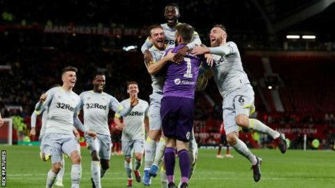 Derby celebrate after beating Manchester United at Old Trafford in round three