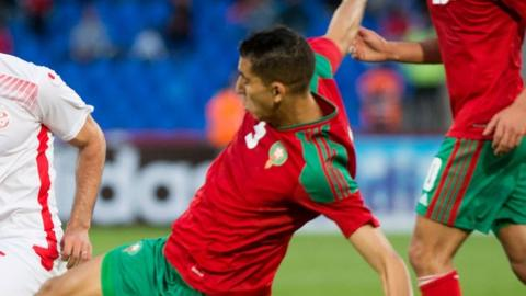 Jawad el Yamiq in action for Morocco