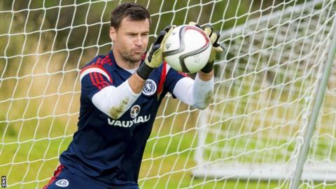 David Marshall saves during Scotland training