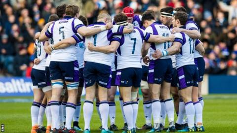 Scotland's players gather in a huddle before their recent Six Nations game against France