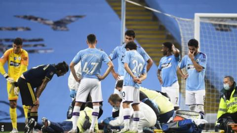 Eric Garcia needed several minutes of treatment on the pitch after a nasty collision with goalkeeper Ederson, and was carried off on a stretcher