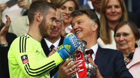 David de Gea and Louis van Gaal