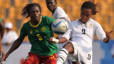 Cameroon in action against Ghana in the final of the 2015 Africa Games