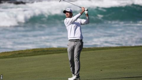Nick Taylor in the final round at Pebble Beach