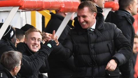 Celtic manager Brendan Rodgers celebrates after their win over Aberdeen