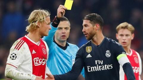 Ramos was booked in the 89th minute against Ajax
