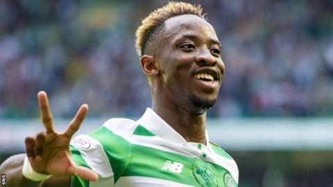 Celtic striker Moussa Dembele celebrates his hat-trick