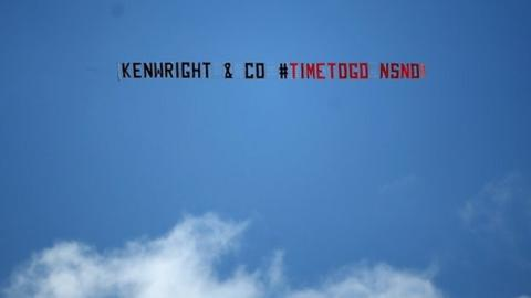 Everton fans staged a fly-past protest during their team's win over Southampton