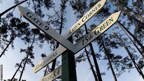 A signpost with directions to various holes at the Augusta National