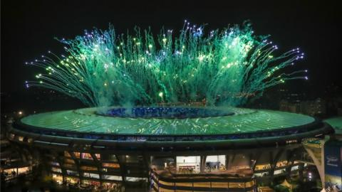 Fireworks explode during the Closing Ceremony 2016 Olympic Games at Maracana Stadium on August 21, 2016 in Rio de Janeiro, Brazil.