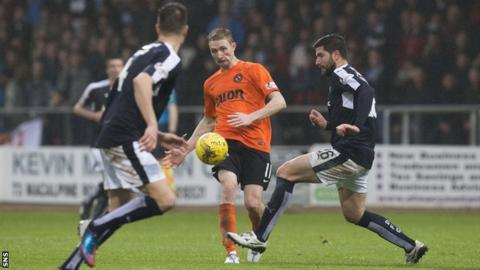 Chris Erskine playing for Dundee United against Dundee