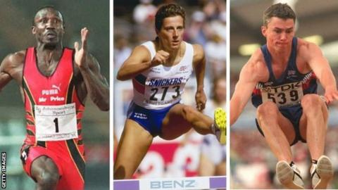 Linford Christie, Sally Gunnell and Jonathan Edwards