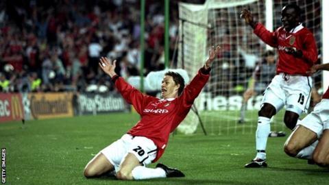 Ole Gunnar Solskjaer celebrates scoring