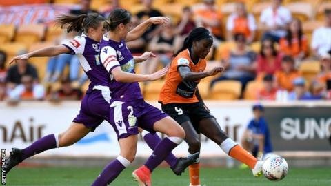 Chioma Ubogagu shoots while playing for Brisbane Roar