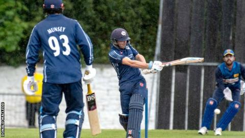 Scotland had to bat through the worst of the Edinburgh weather
