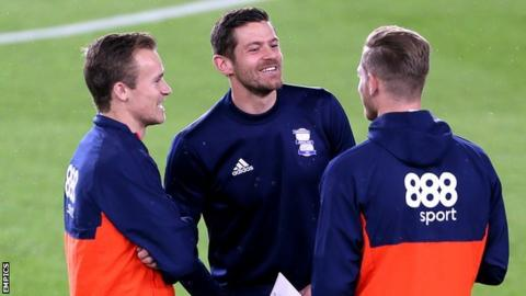 Birmingham City team-mates Maikel Kieftenbeld (left), Luka Jutkiewicz and Michael Morrision (right)