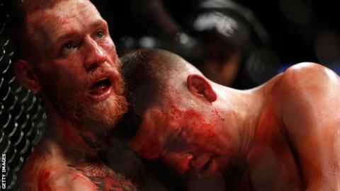 McGregor knocked down Diaz twice more in the second round