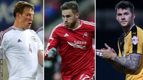 (Left to right) Nauris Bulvitis, David Goodwillie and Jimmy Spencer