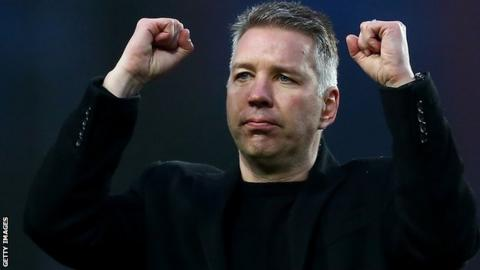 Darren Ferguson celebrates with Peterborough fans