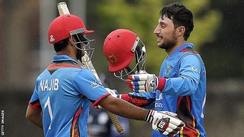 Najibullah Zadran and Rahmat Shah celebrate the latter's century
