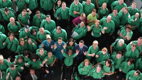 The Ireland team at Dublin Airport last Tuesday