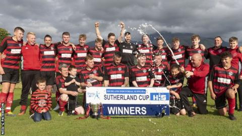 Lochside Rovers celebrate winning the Sutherland Cup