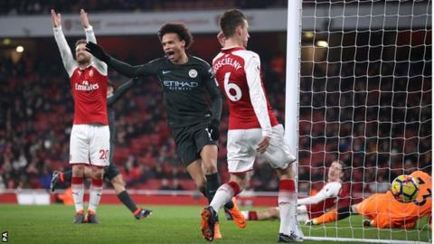 Leroy Sane celebrates goal for Manchester City