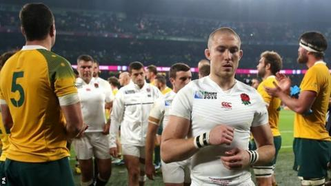 Mike Brown of England walks off against Australia at the Rugby World Cup Pool A match at Twickenham