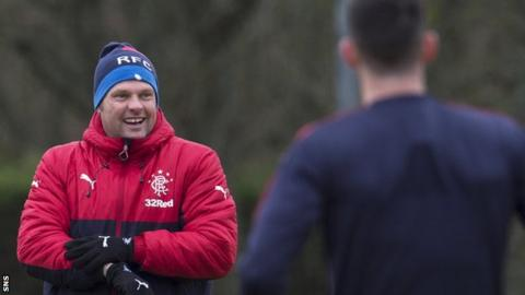 Rangers caretaker manager Graeme Murty takes training on Friday