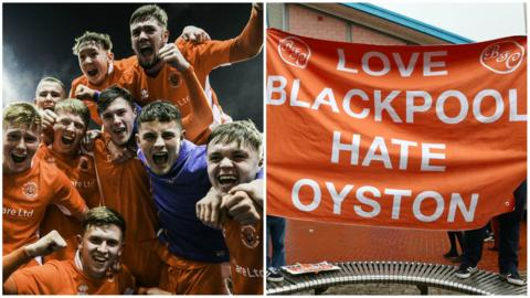 Blackpool youth team and protests