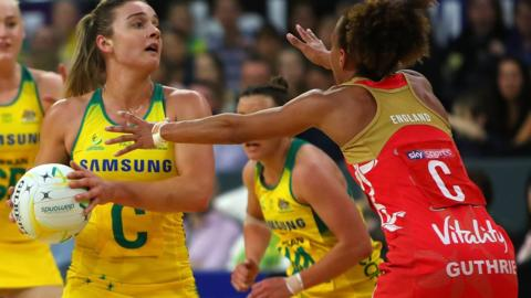 Serena Guthrie in action during England v Australia