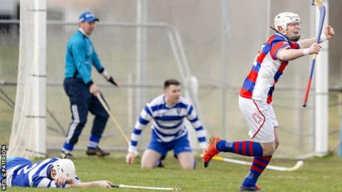 Kingussie celebrate against Newtonmore