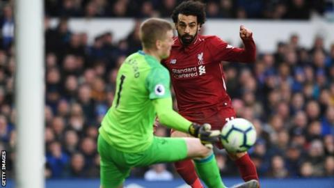 Mohamed Salah shot saved by Jordan Pickford